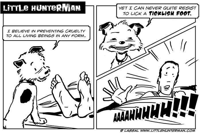 Little Hunterman - ticklish feet
