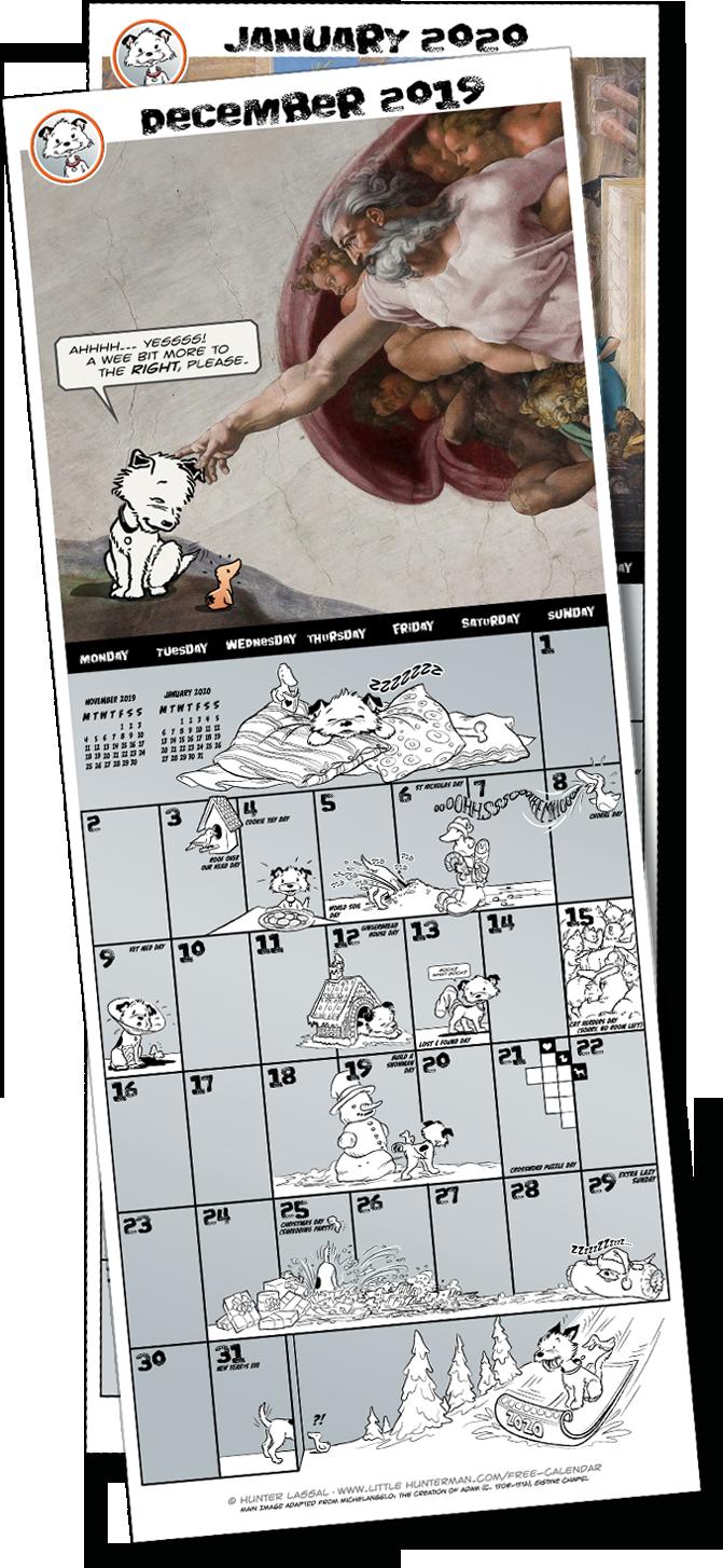 The Totally Secret Little Hunterman December 2019 Calendar Page Download Place