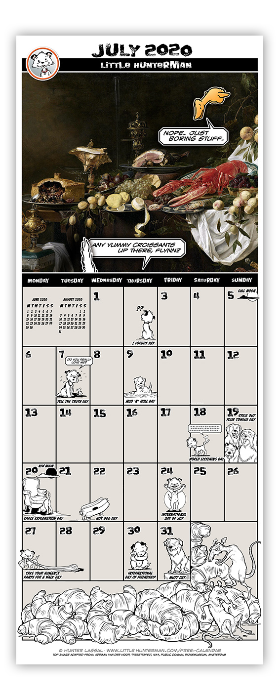 Little Hunterman Monthly Calendar Pages